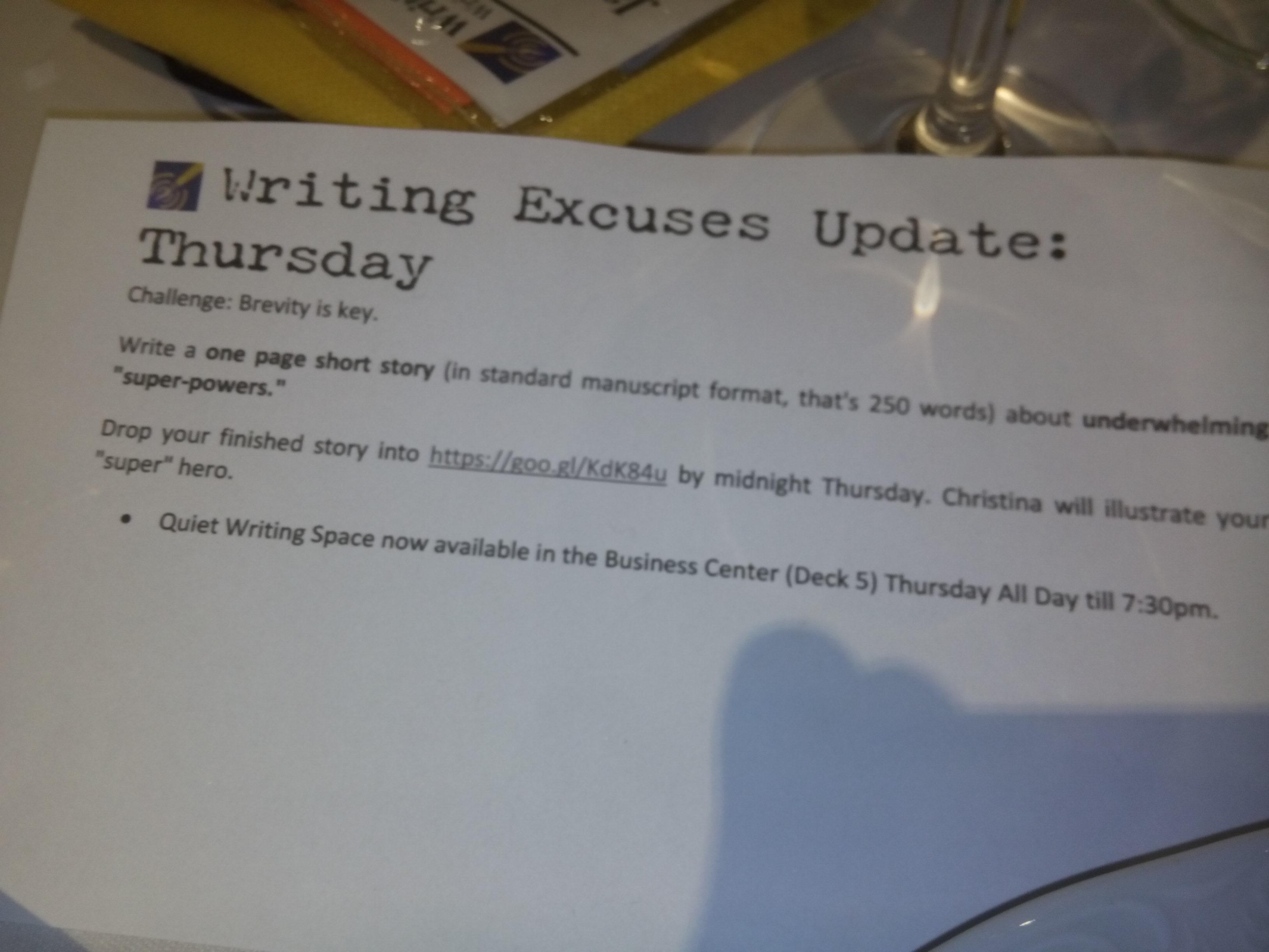 Aufgabe Writing Excuses Retreat