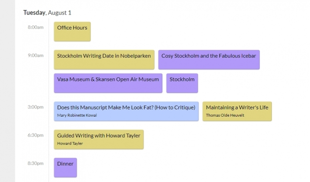 Tagesprogramm Writing Excuses Retreat